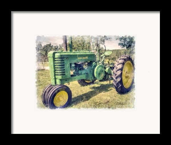 John Deere Tractor Cartoon Prints : John deere vintage tractor watercolor framed print by