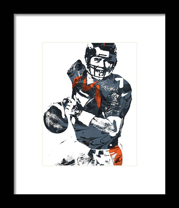 John Elway Denver Broncos Pixel Art Framed Print by Joe Hamilton