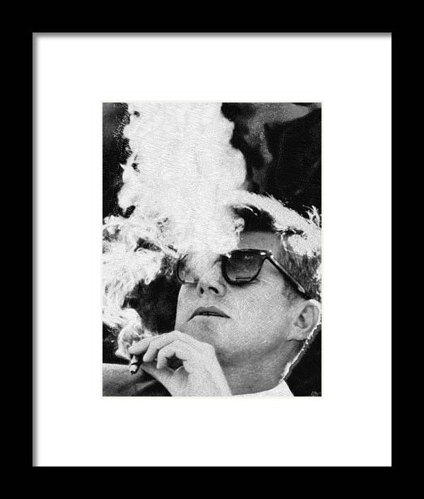 John F Kennedy Cigar And Sunglasses Black And White Framed Print by ...
