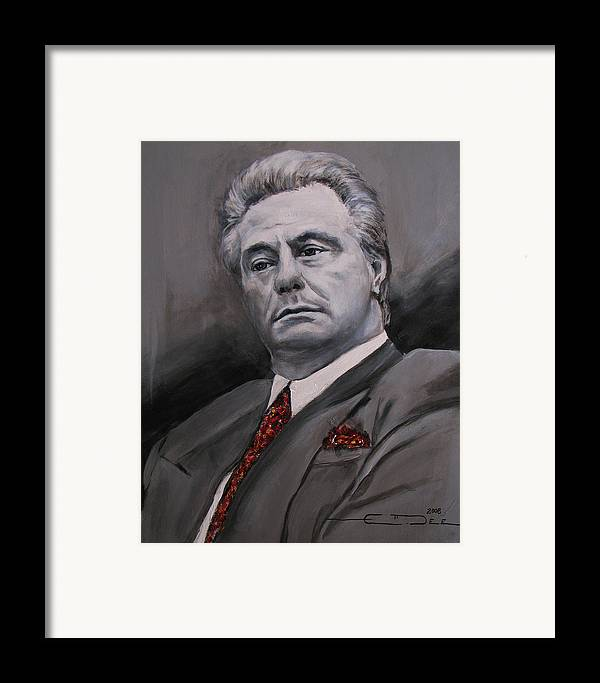 Gotti Framed Print featuring the painting John Gotti by Eric Dee
