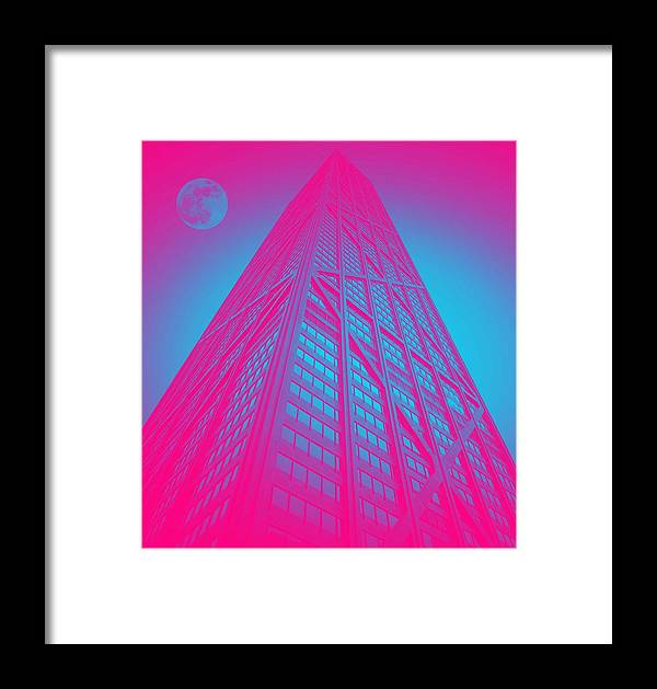 Architecture Framed Print featuring the painting John Hancock Building In Chicago 1 by Celestial Images