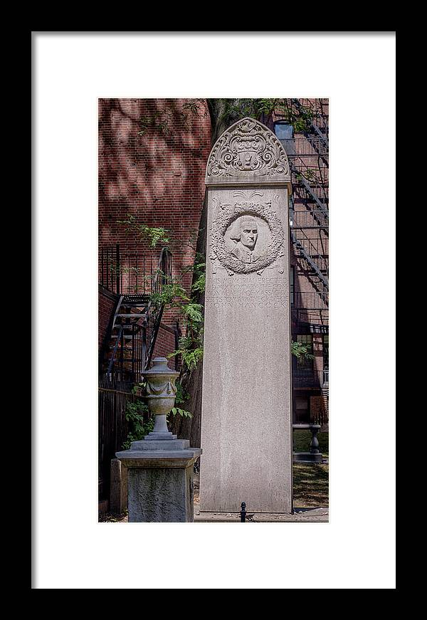 John Hancock Monument In Granary Burying Ground Eckfoto Boston Freedom Trail Framed Print featuring the photograph 13- John Hancock Monument In Granary Burying Ground Eckfoto Boston Freedom Trail by Jean-Louis Eck