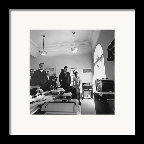 History Framed Print featuring the photograph John Kennedy And Others Watching by Everett