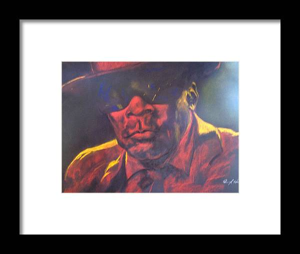 Blues Framed Print featuring the drawing John Lee Hooker by Darryl Hines
