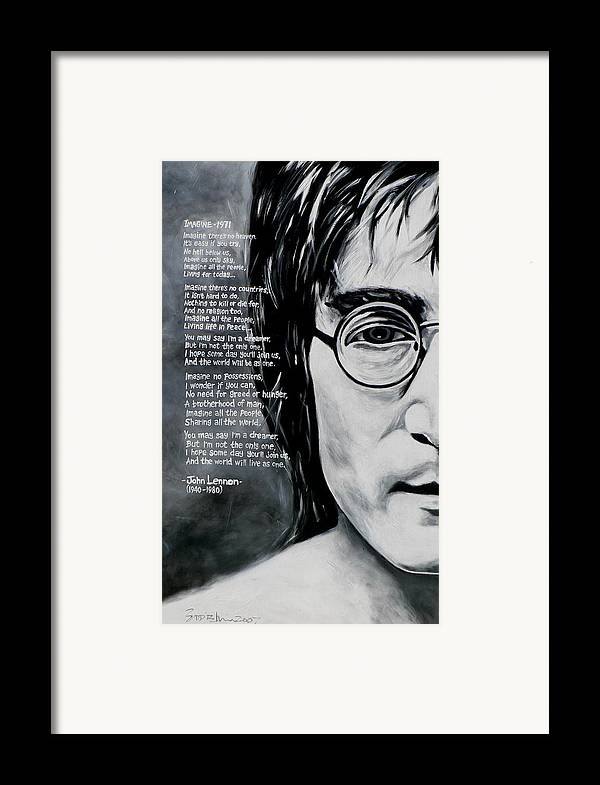 Figurative Framed Print featuring the painting John Lennon - Imagine by Eddie Lim