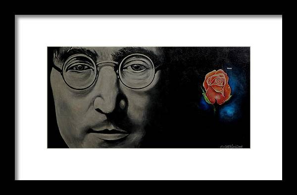 Peace Framed Print featuring the painting John Lennon - Peace by Eddie Lim