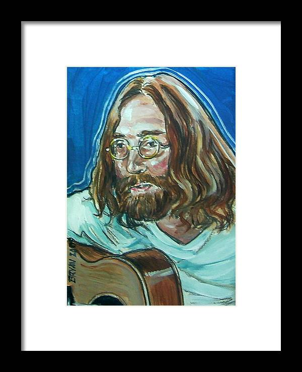 John Lennon Framed Print featuring the painting John Lennon by Bryan Bustard