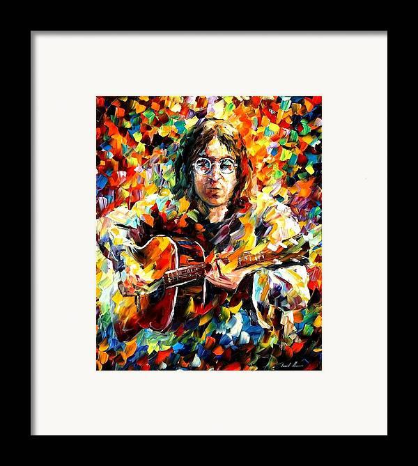 Beatles Framed Print featuring the painting John Lennon by Leonid Afremov