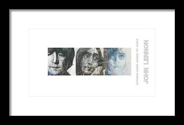 John Lennon Framed Print featuring the mixed media John Lennon Triptych by Paul Lovering
