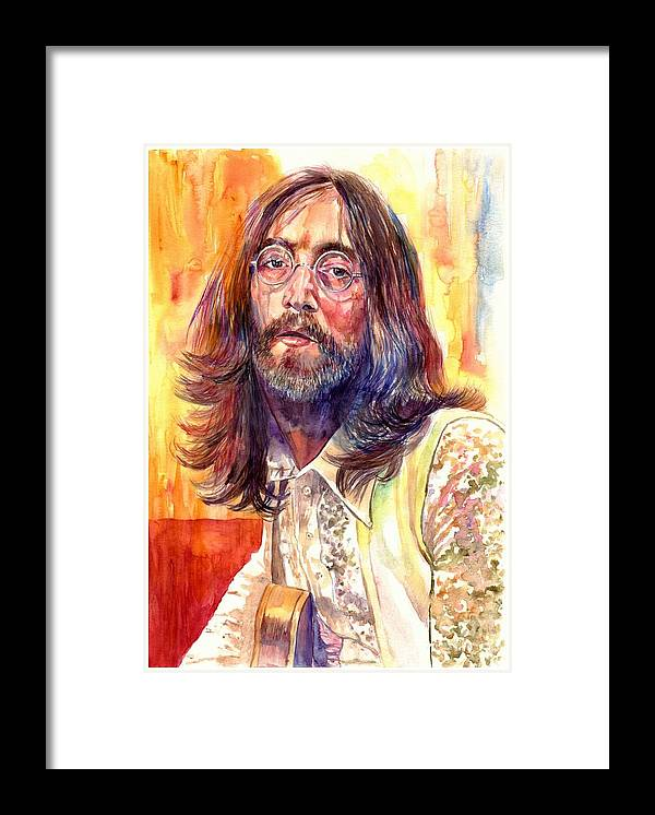 John Lennon Framed Print featuring the painting John Lennon watercolor by Suzann Sines
