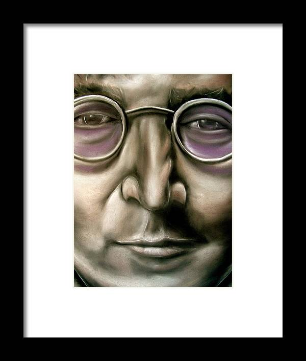 John Framed Print featuring the drawing John Lennon by Zach Zwagil
