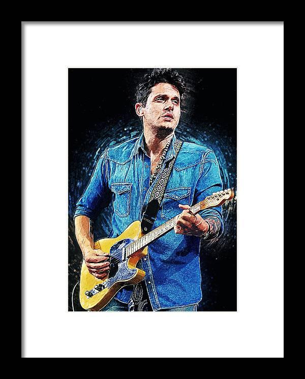 John Mayer Framed Print featuring the digital art John Mayer by Zapista OU