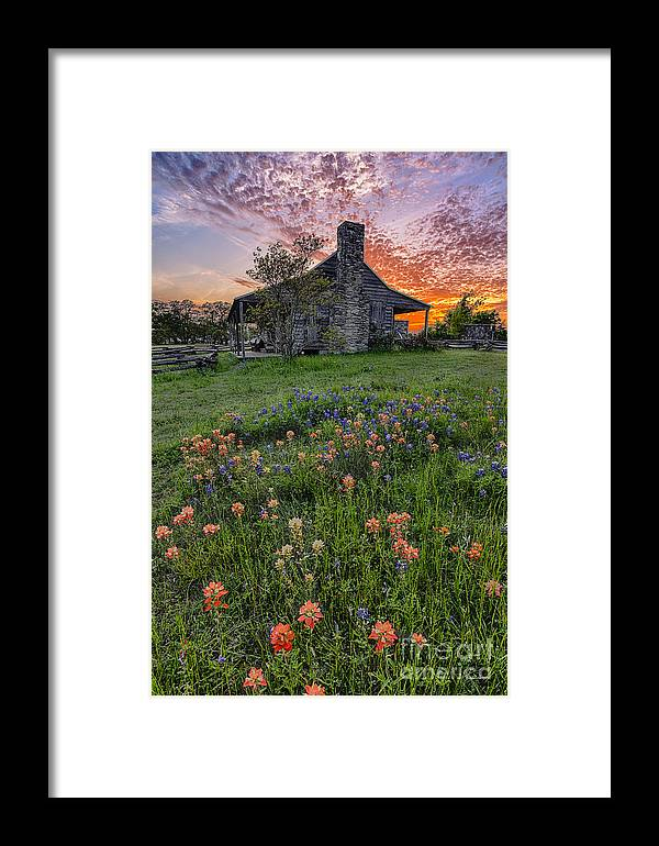 Independence Framed Print featuring the photograph John P Coles Cabin And Spring Wildflowers At Independence - Old Baylor Park Brenham Texas by Silvio Ligutti