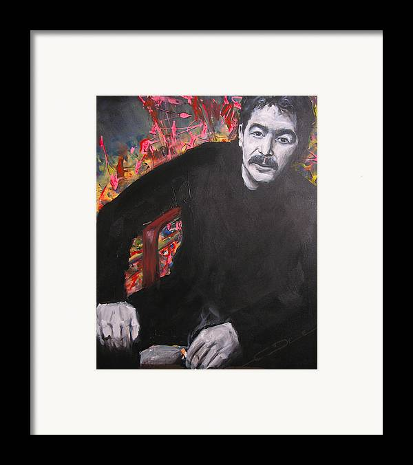 Johnny Cash Framed Print featuring the painting John Prine - Colors by Eric Dee