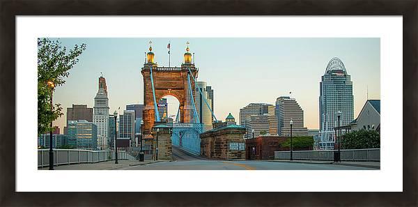 John Roebling Bridge and Cincinnati Skyline Panoramic  by Gregory Ballos