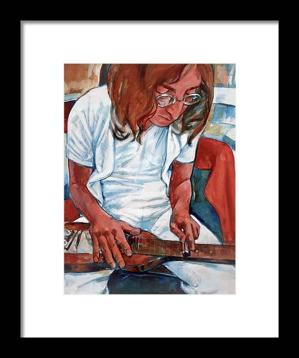 John Lennon Portrait Beatles Music Musician Rock Framed Print featuring the painting John by Scott Waters