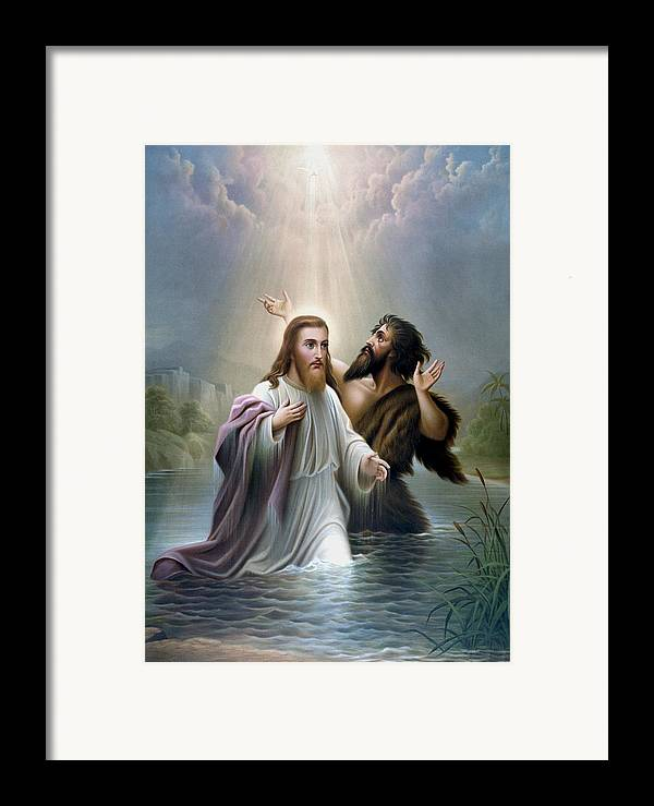 Jesus Framed Print featuring the painting John The Baptist Baptizes Jesus Christ by War Is Hell Store
