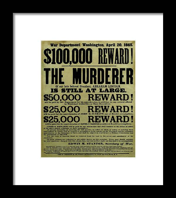 Wanted Framed Print featuring the mixed media John Wilkes Booth Wanted Poster by War Is Hell Store