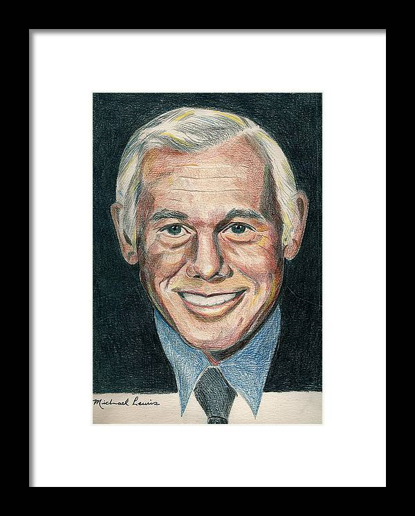 Portraiture Framed Print featuring the drawing Johnny Carson by Michael Lewis