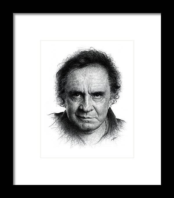Johnny Cash Framed Print by Christian Klute