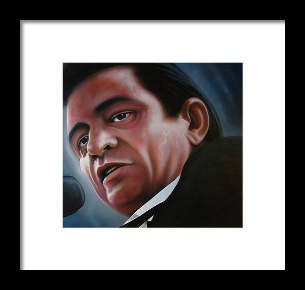 Johnny Framed Print featuring the painting Johnny Cash Folsum Prison by Joshua South