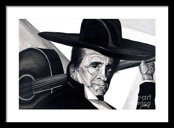 Portrait Framed Print featuring the painting Johnny Cash by Keith Thurman