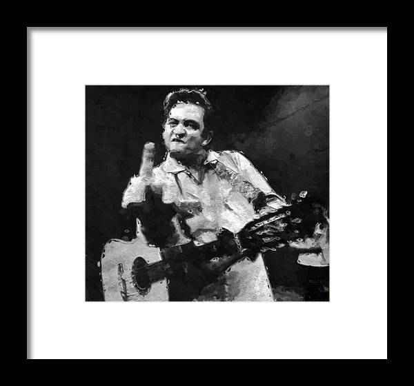 Johnny Cash San Quentin Portrait Framed Print by Queso Espinosa