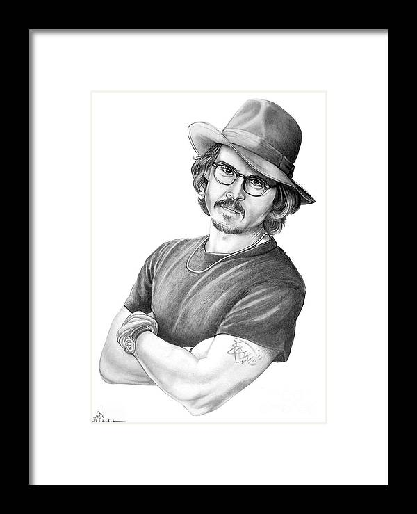 Johnny Depp Framed Print featuring the drawing Johnny Depp by Murphy Elliott