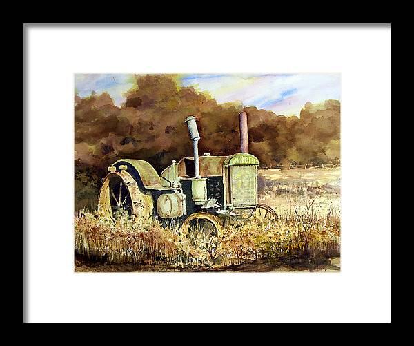 Tractor Framed Print featuring the painting Johnny Popper by Sam Sidders