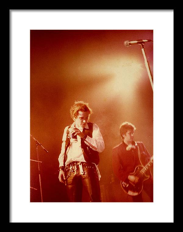 Sex Pistols  Punk Rock  Johnny Lydon  Johnny Rotten Steve Jones Framed Print featuring the photograph Johnny Rotten and Steve Jones by Dawn Wirth