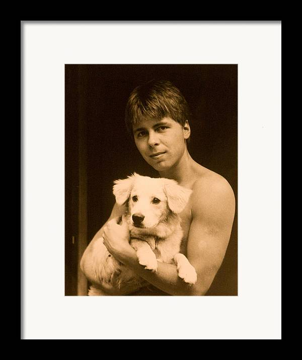 Portrait Framed Print featuring the photograph Johnny With Dog by John Toxey