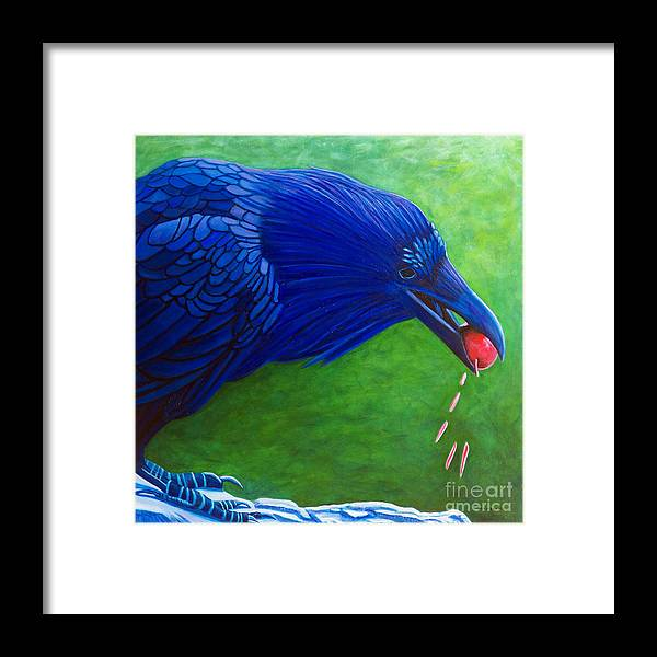 Raven Framed Print featuring the painting Joie De Vivre by Brian Commerford