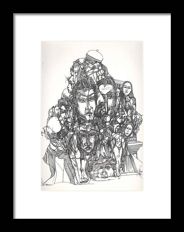 Joined Framed Print featuring the drawing Joined Up Into One by Padamvir Singh