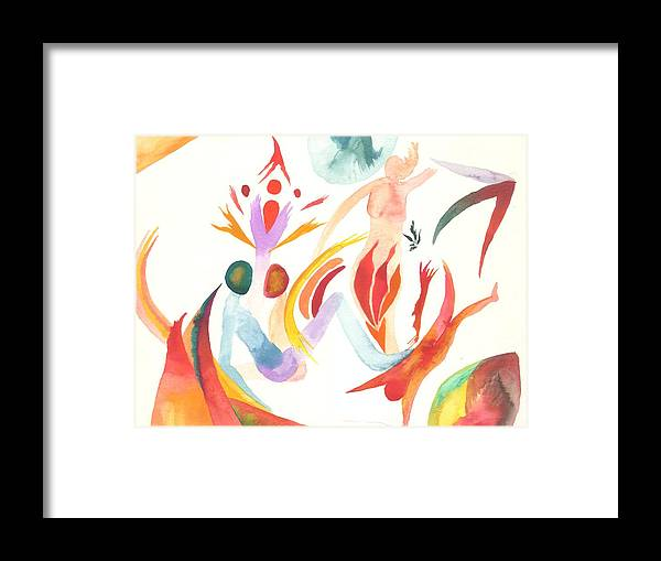 Watercolor Framed Print featuring the painting Joining In Union by Peter Shor