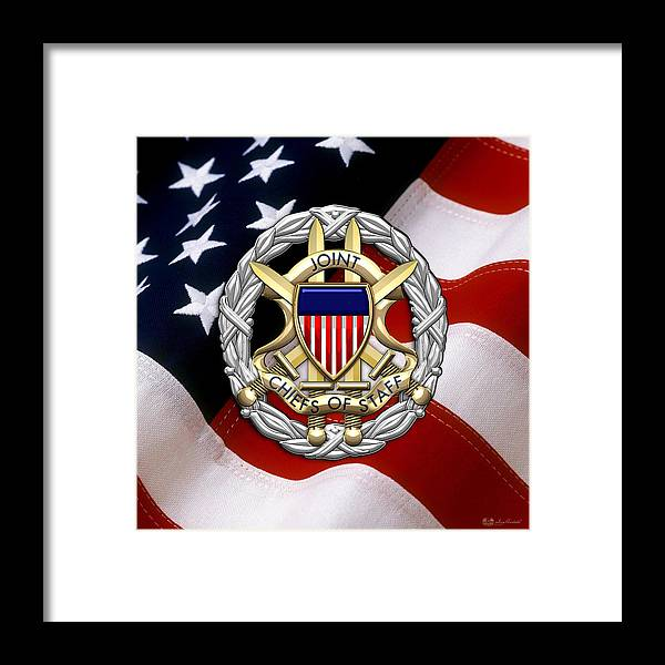 joint chiefs of staff j c s identification badge over u s flag