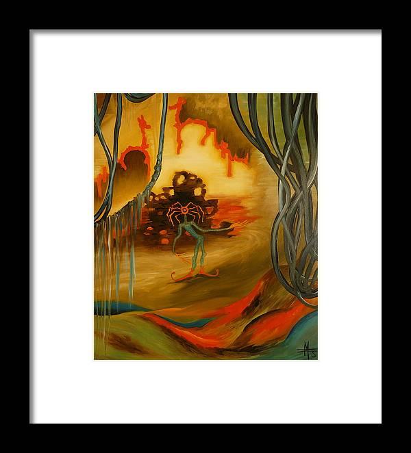 Surrealist Framed Print featuring the painting Joker by Zsuzsa Sedah Mathe