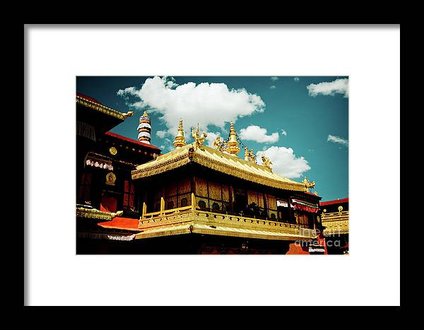 Tibet Framed Print featuring the photograph Jokhang Temple Fragment Lhasa Tibet Artmif.lv by Raimond Klavins