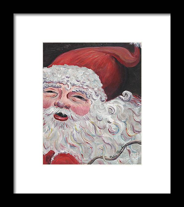 Santa Framed Print featuring the painting Jolly Santa by Nadine Rippelmeyer