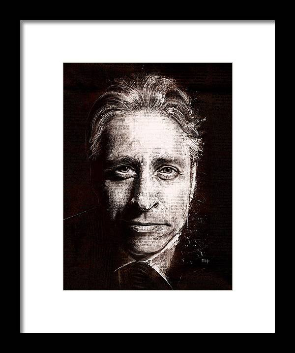 Comedy Framed Print featuring the painting Jon Stewart by Fay Helfer