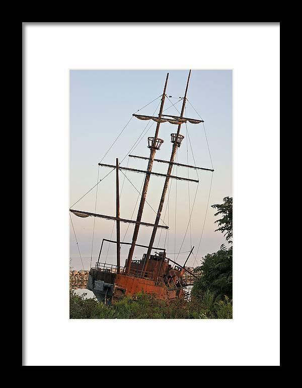 Boat Tallship Ship Morning Waterscape Framed Print featuring the digital art Jordan Harbour Wreck by Art Tilley