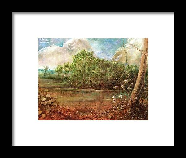 Framed Print featuring the painting Jordan Lake by Dan Hammer
