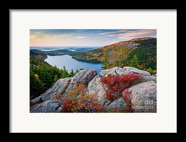 Acadia National Park Framed Print featuring the photograph Jordan Pond Sunrise by Susan Cole Kelly