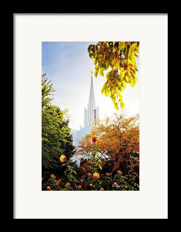 Jordan River Temple Framed Print featuring the photograph Jordan River Temple Rose by La Rae Roberts