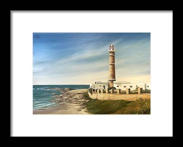 Landscape Seascape Lighthouse Uruguay Beach Sea Water Framed Print featuring the painting Jose Ignacio Lighthouse Evening by Natalia Tejera