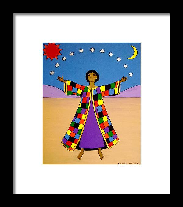 Joseph Framed Print featuring the painting Joseph And His Coat Of Many Colours by Stephanie Moore
