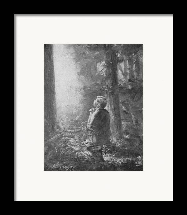 First Vision Framed Print featuring the painting Joseph Smith Praying In The Grove by Lewis A Ramsey