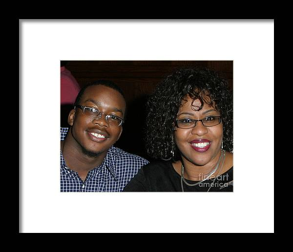 Framed Print featuring the mixed media Josh And His Mom by Angela L Walker
