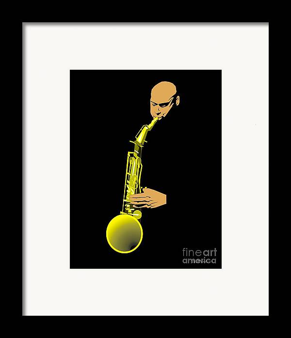 Portraits Framed Print featuring the digital art Joshua Redman by Walter Oliver Neal
