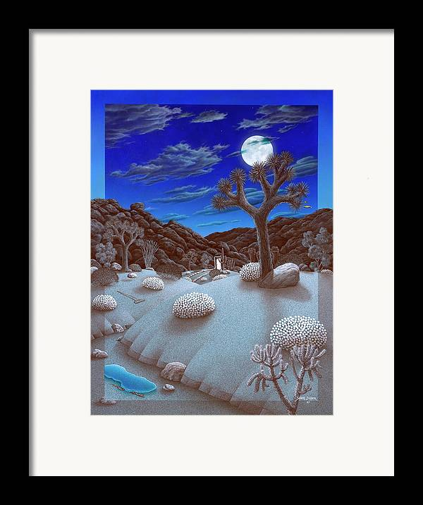 Landscape Framed Print featuring the painting Joshua Tree At Night by Snake Jagger