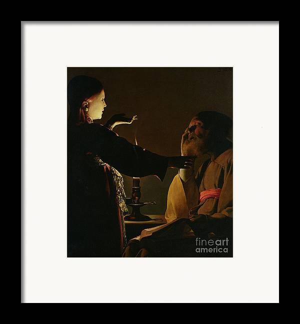 Joseph And The Angel Framed Print featuring the painting Jospeh And The Angel by Georges de la Tour